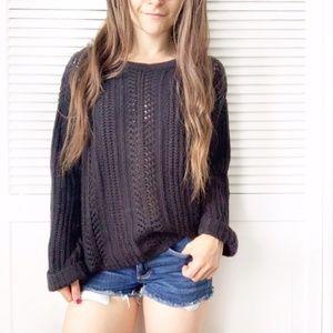 Towne Black Oversized Knit Crew Neck Sweater